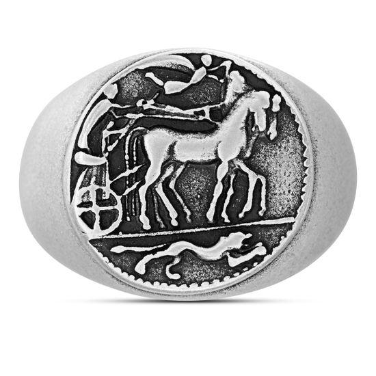 Imagen de Steve Madden Oxidized Stainless Steel Old Greek Coin Horse Design Ring for Men (Size 9)