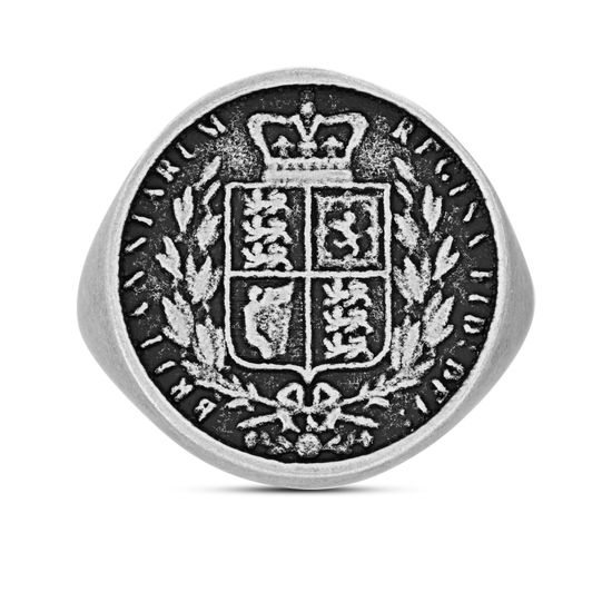 Imagen de Steve Madden Great Britain Sovereign Shield Coin Ring Silver 9