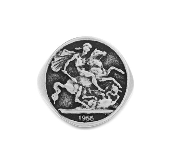 Imagen de Steve Madden Greek Coin Ring Silver 9