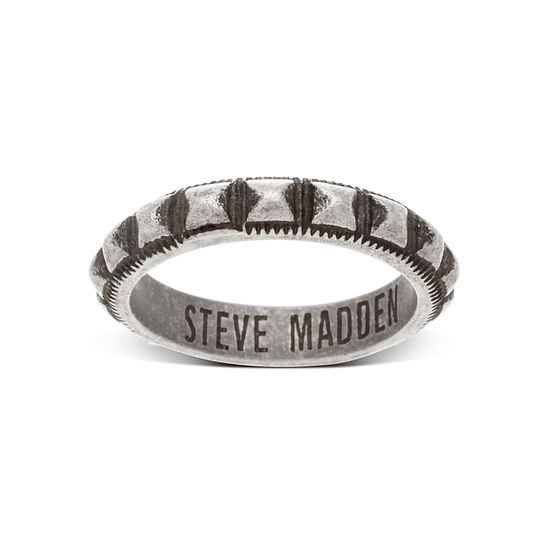 Picture of Silver-Tone Stainless Steel Oxidize Stud Texture Band Ring Size 9