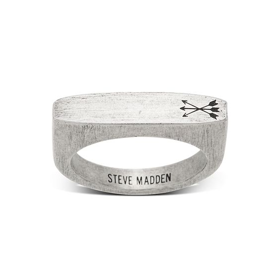 Imagen de Steve Madden Silver-Tone Stainless Steel Men's Triple Arrow Flat Matte Worn Design Ring Size 9