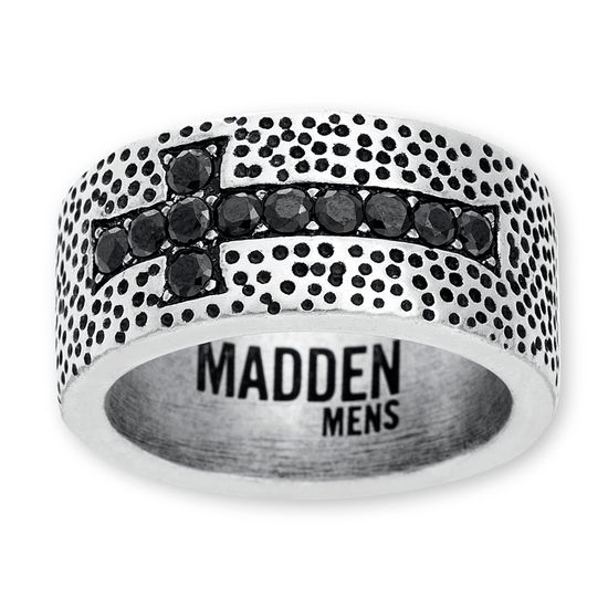 Imagen de Steve Madden Silver-Tone Stainless Steel Black Cubic Zirconia Cross Oxidized Ring