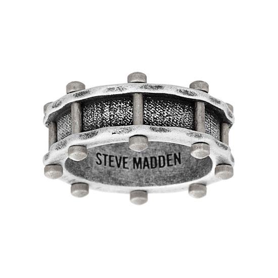 Imagen de Steve Madden Silver-Tone Stainless Steel Men's Oxidized Rivet Design Ring Size 11