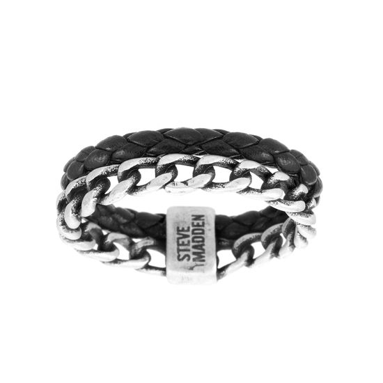 Imagen de Steve Madden Silver-Tone Stainless Steel Men's Oxidized Leather and Curb Chain Ring Size 10