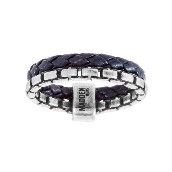 Imagen de Steve Madden Oxidize Stainless Steel Box Chain Braided Blue Leather Ring Size 11