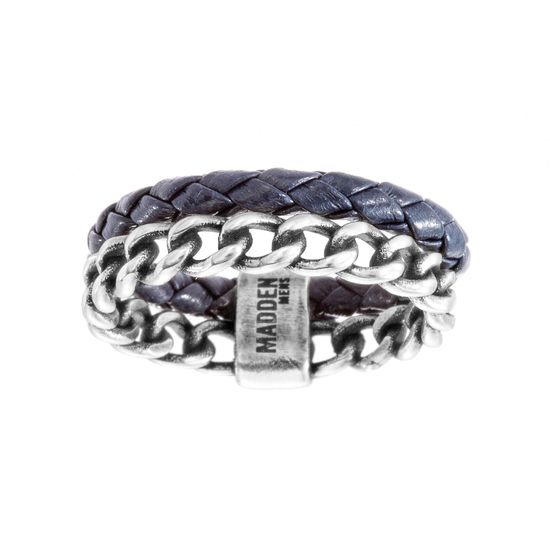 Imagen de Steve Madden Oxidize Stainless Steel Curb Chain Braided Blue Leather Ring Size 10