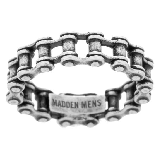 Imagen de Steve Madden Oxidized Stainless Steel Bolt Design Ring for Men (Size 10)