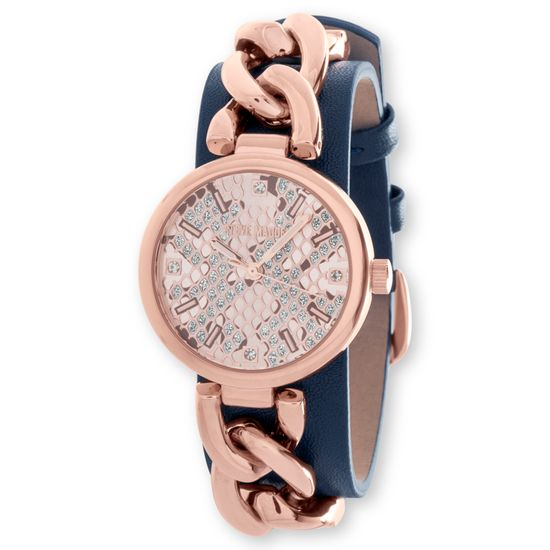 Imagen de Steve Madden Rose Gold Plated Alloy Case Snake Skin Dial Curb Chain & Navy Blue Leather Strap Watch