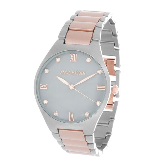 Imagen de Steve Madden Rose Gold & Silver Plated Alloy Case Roman Numeral & Crystal Marker Mother of Pearl Dial Link Band Watch