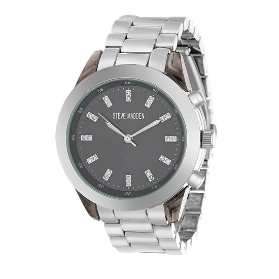 Imagen de Steve Madden Men's SMW130BK Analog Display Quartz Silver Watch