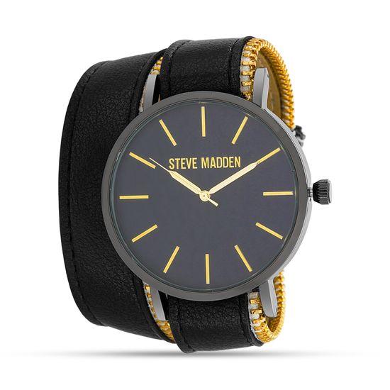 Imagen de Steve Madden Zipper Style Double Wrap Watch SMW353 Black One Size