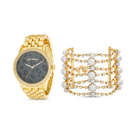 Imagen de Steve Madden Pearl Bracelet and Animal Print Watch Set SMWS073 Gold One Size